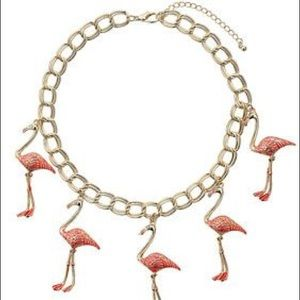 Jewelry - Gold and Pink Dangling Flamingo Charm Necklace